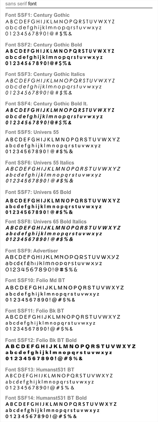 Engraving Solutions| Font List